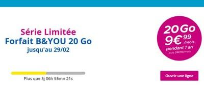 Un forfait B and YOU 20Go à moins de 10€/mois en série limitée!