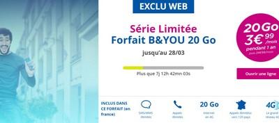 Offre canon: un forfait 4G B and YOU 20Go à 3,99€/mois jusqu'au 1er avril!