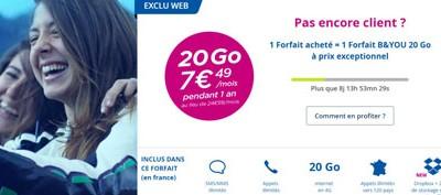 Le forfait 20Go de Bouygues en promotion à 7,49€ pour ses clients