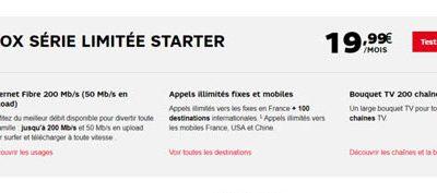 La série limitée Starter de SFR à 19,99€/mois jusqu'au 20 novembre